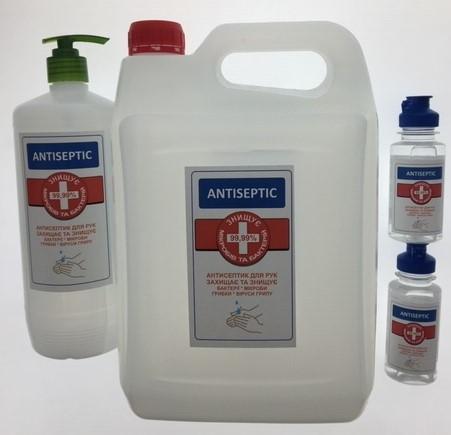 Антисептик для рук Antiseptic (флакон 100мл-2шт., бутылка 1л с дозатором, канистра 5л.) Набор
